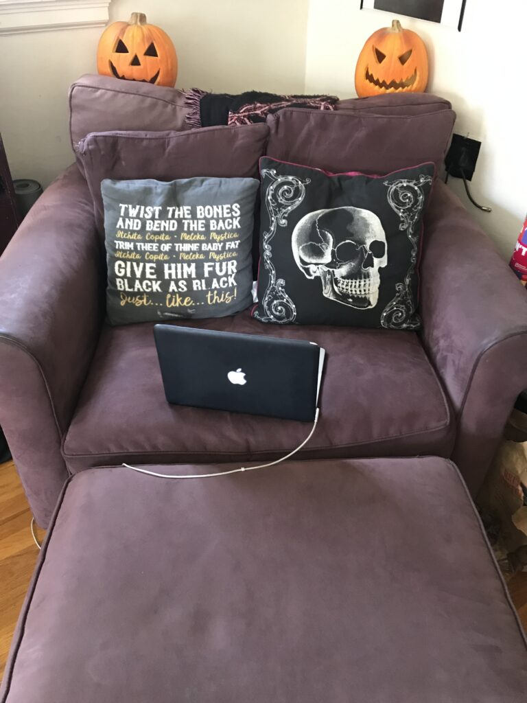 Purple armchair with pillows and an Apple Macbook laptop on it not morning person