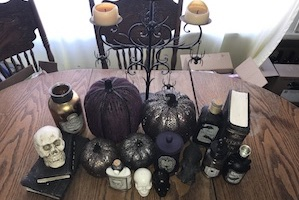 kitchen table decorated Halloween