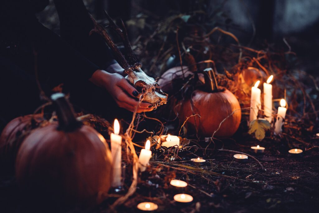 woman's hands holding animal skull between pumpkins and candles